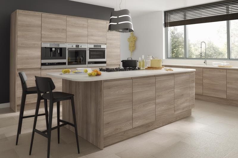 Pisa handle less replacement kitchen cabinet doors for Bleached wood kitchen cabinets