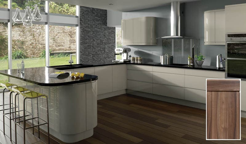 Treviso Handleless Kitchen Doors - Gloss grey kitchen units